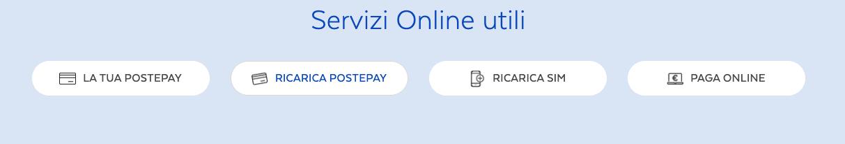 ricarica postepay online